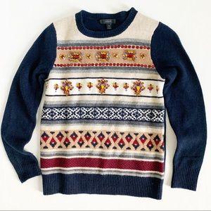 J. Crew Jeweled Fair Isle Striped Sweater